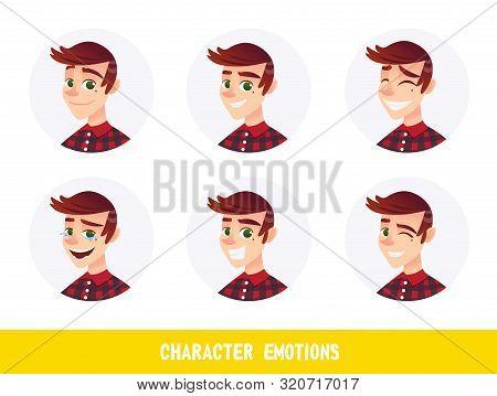 Flyer Character Emotions Lettering Cartoon Flat. Portrait Handsome Guy Is Experiencing Positive Emot