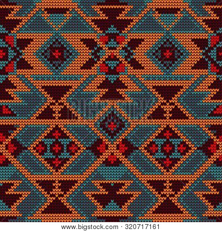 Knitted Geometric Pattern. Ethnic Style. Seamless Pattern. Knitting Pattern. The Pattern Is Suitable