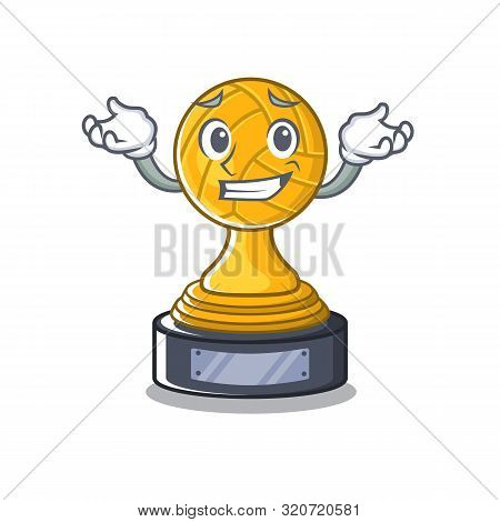 Grinning Volleyball Cartoon Trophy In Mascot Cupboard