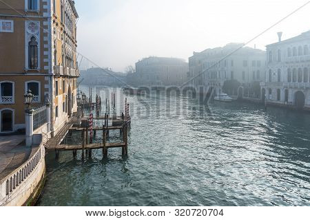 Panoramic View Of Famous Grand Canal In The Winter In Venice, Italy.