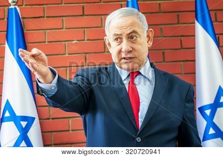 Tel Aviv, Israel. August 14, 2019. Prime Minister Of Israel During The Meeting With Journalists From