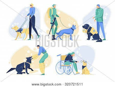 Serving Dogs With Owners Set. Pets Help People. Border Guard, Rescuer, Guide For Blind Man, Pet And