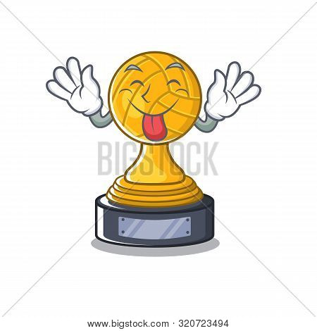 Tongue Out Volleyball Trophy Cartoon Displayed Above Character Table
