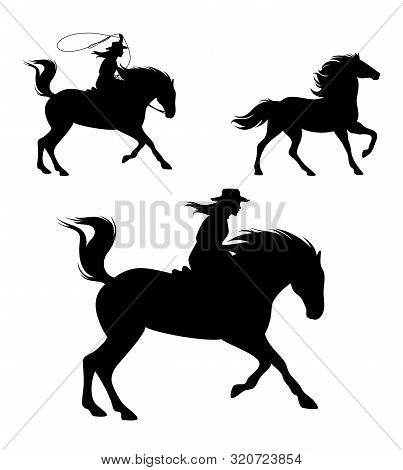 Cowgirl Riding Horse And Chasing Mustang With Lasso - Wild West  Rider Black Vector Silhouette Set