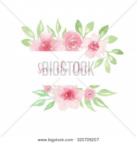 Wedding Invitation, Save The Date Card Design With Light Watercolor Pink Flowers In Geometrical Fram