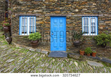 Piodao, Portugal - April 2018: Doors And Windows Of The Famous Schist Vilage