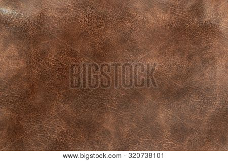 Brown Genuine Leather Texture Background, Surface, Pattern, Close Up