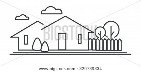 Suburban Neighborhood, Residential Building, Town House Isolated Icon