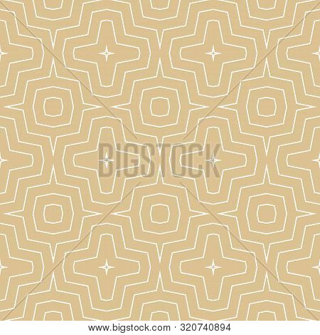 Vector Geometric Seamless Pattern. Simple Golden Texture With Thin Concentric Zig Zag Lines, Stripes