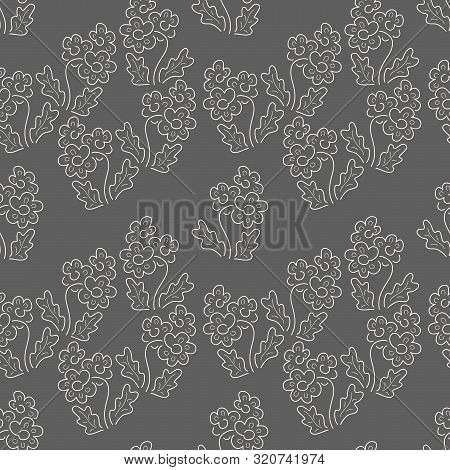 Floral Seamless Pattern. Vector Textures. Simple Delicate Flowers On A Dark Background. Print Flower