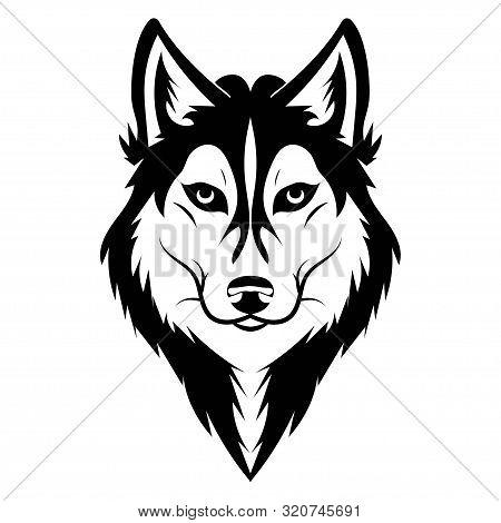 Husky Logo. Portrait Of A Husky. Black And White Dog Head. Illustration Of A Pet. Tattoo.