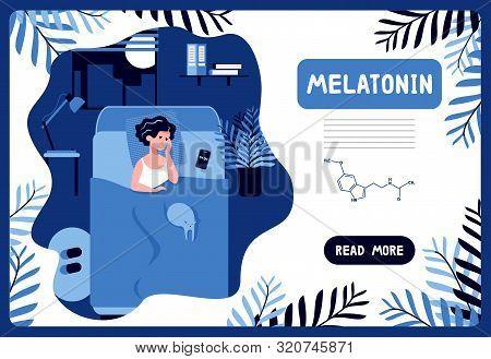 Tired Woman Trying To Fall Asleep. Stress, Depression, Headache, Nightmares. Sleepy Face. Biological