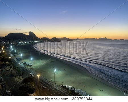 Copacabana, Brazil - June 16, 2019: Top View Of Copacabana Beach And Avenida Atlantic In Rio De Jane