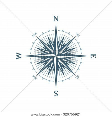 Wind Rose Vector Illustration. Nautical Compass Icon Isolated On White Background. Vintage Or Retro