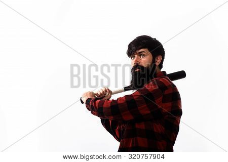 Baseball Player With Wooden Bat Plays Baseball. Sport, Energy And Fashion. Handsome Man Hand Holds B