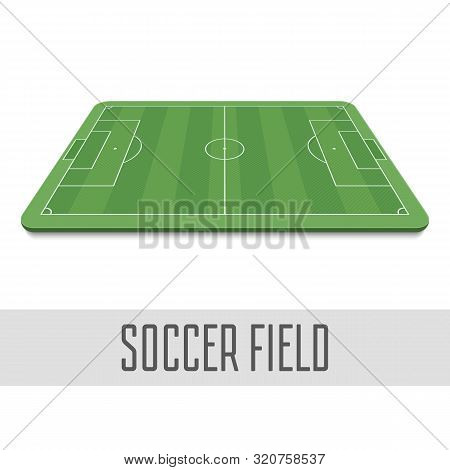 Soccer Field Side View. Football Field In Perspective. The Standard Layout Of The Playing Area. Vect