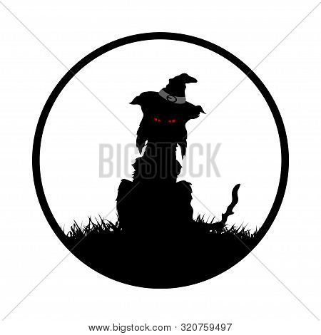 Halloween Spooky Feral Black Cat Silhouette With Witch Hat And Red Eyes On White Circular Border