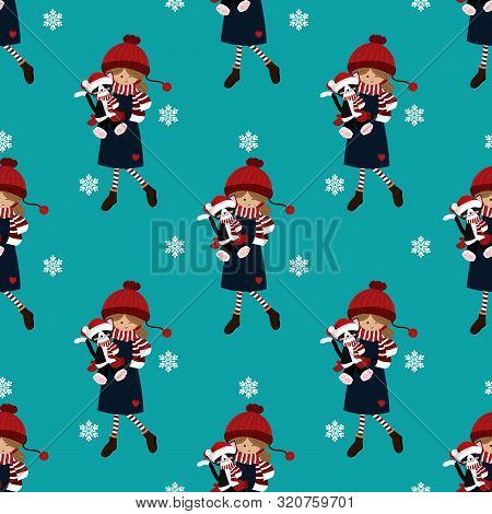 Christmas Holiday Season Seamless Pattern With Cute Girl In Winter Custom Holding Cute Cat Doll. Cut