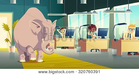 Ignoring Elephant In Room Cartoon Vector Concept. Businesspeople, Company Employees, Coworkers Worki