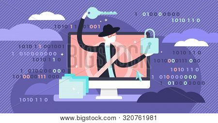 Hacker Vector Illustration. Flat Tiny Virtual Web Criminal Persons Concept. Internet Protection From
