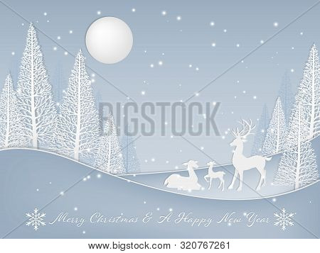 Christmas Background With Deer Family On The Hill Near Pine Trees With Snowfall And Merry Christmas