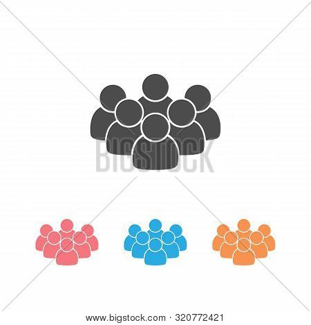 Icon Of People In Black Color On White Background Isolated. Group Of People Ideal For Business, Star