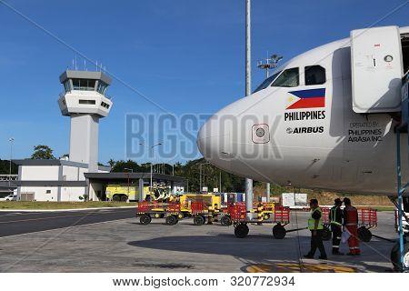 Puerto Princesa, Philippines - November 28, 2017: Air Asia Airbus A320 At Puerto Princesa Airport, P