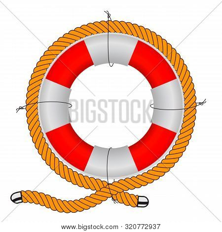 Vector Illustration, Lifebuoy On A White Background. Realistic Lifebuoy Wrapped In Durable Rope.