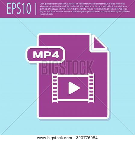 Retro Purple Mp4 File Document. Download Mp4 Button Icon Isolated On Turquoise Background. Mp4 File