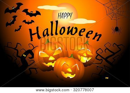 Happy Halloween Black Orange Banner With Scary Pumpkins, Bats, Ugly Trees, Spider Web And Full Moon.