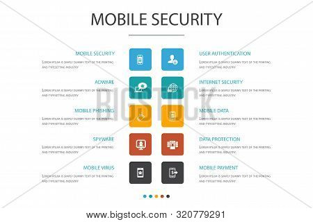 Mobile Security Infographic Cloud Design Template.mobile Phishing, Spyware, Internet Security, Data