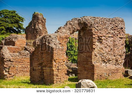 Detail Of The Walls Of The Ruins At The Flavian Palace Also Known As The Domus Flavia On The Palatin