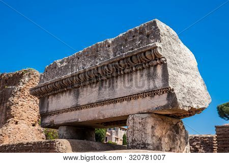 Detail Of The Ruins At The Flavian Palace Also Known As The Domus Flavia On The Palatine Hill In Rom