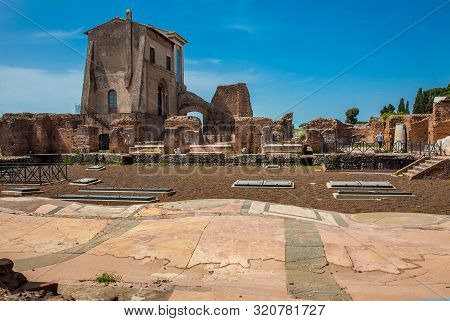 Rome, Italy - April, 2018: Ruins Of A Beautiful Decorated Floor At The Flavian Palace Also Known As
