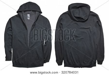 Blank Sweatshirt Mock Up, Front, And Back View, Isolated On White. Plain Black Hoodie Mockup. Hoody