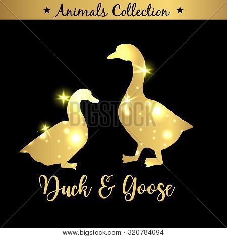 Isolated Vintage Golden And Royal Emblem Of Farm Goose And Duck Animals. Fresh And Tasty Dietary Mea