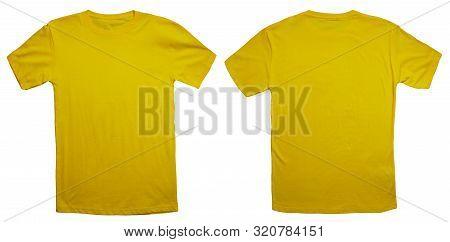 Yellow T-shirt Mock Up, Front And Back View, Isolated. Plain Yellow Shirt Mockup. Tshirt Design Temp