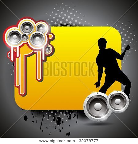 Vector colorful music banner with shiny speakers and dancing guy silhouette on grunge background copy space for  text, EPS 10. can be use as banner, flyer or poster for disco party and other events.