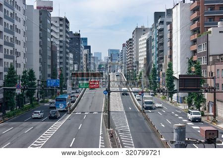 Tokyo, Japan - July 28, 2019: View Of Showa-dori Ave In Asakusa District