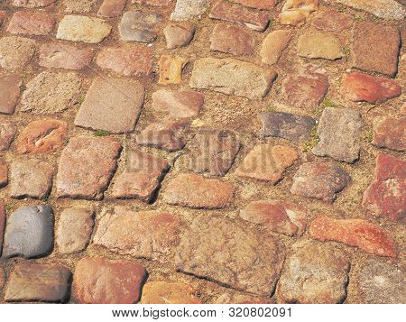 Historic Cobble Stone Pavement Area In A Residential Housing Area Near Hamburg, Germany