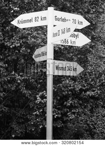 Dannenberg, Germany - May 12, 2019: Directional Signs Pointing At Various Locations Of Nuclear Accid