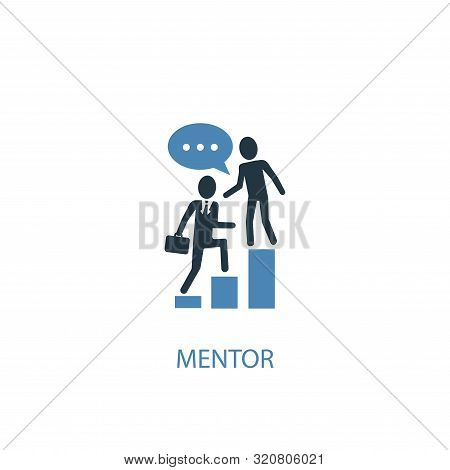 Mentor Concept 2 Colored Icon. Simple Blue Element Illustration. Mentor Concept Symbol Design. Can B