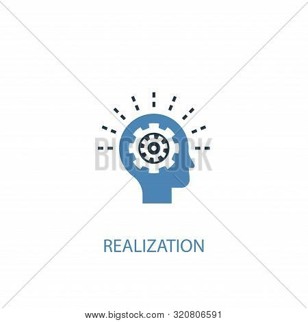 Realization Concept 2 Colored Icon. Simple Blue Element Illustration. Realization Concept Symbol Des