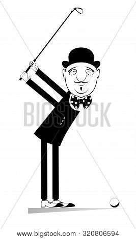 Elegant Golfer Man In The Bowler Hat Is On The Golf Course Illustration. Cartoon Elegant Man With A