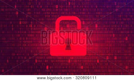 Digital Binary Code On Red Bg With Lock