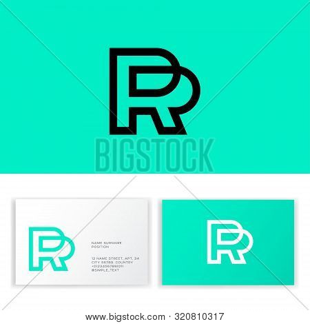 P And R Monogram. P, R Logo. Linear Monogram On  A Different Background. Business Card.