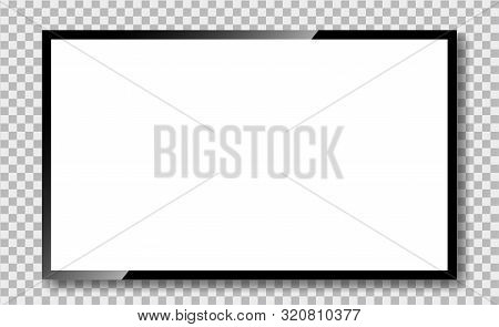 Tv Screen With Glass Reflection On Transparent Background. Tv Monitor Frame In Mockup Style. Black L