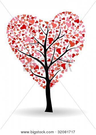 Colorful love tree made by small heart shapes with floral design and copy space for your text, isolated on white background. can be use as greeting or gift card.