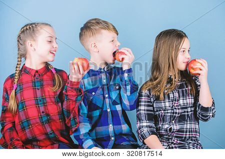 Healthy Dieting And Vitamin Nutrition. Eat Fruit And Be Healthy. School Snack Time. Having Tasty Sna