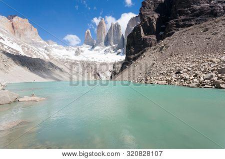 Torres Del Paine Peaks View, Chile. Chilean Patagonia Landscape. Base Las Torres Viewpoint